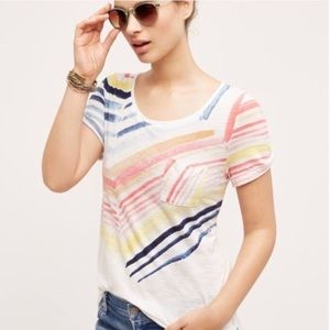 Anthropologie little yellow button watercolor tee